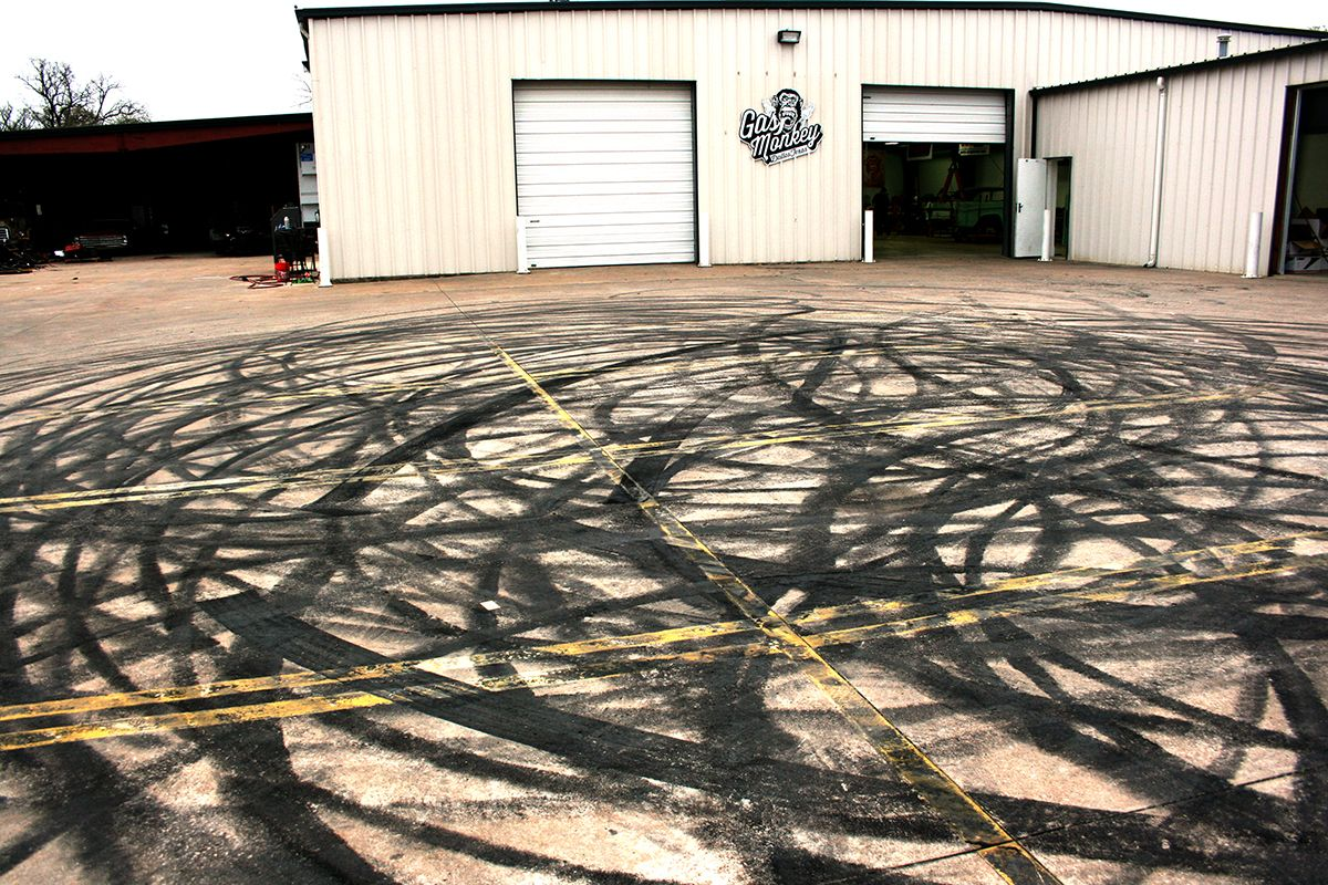 Tire Burnouts in front of Gas Monkey Garage